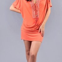 Beaded Coral Jersey Tunic Dress