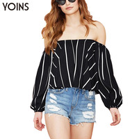 New Arrival Stripe Chiffon Long Sleeve Top With Slash Neck Women Off Shoulder Blouse Sexy Female Shirts Street Style