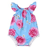 Summer 2007 Baby Girls Clothing Toddler Baby Girls Floral Tassle Romper Jumpsuit Kids Clothes Outfit Sunsuit
