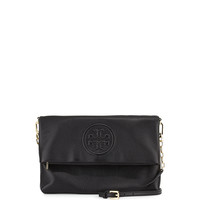 Bombe Fold-Over Crossbody Clutch Bag, Black - Tory Burch