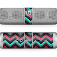 The Sharp Pink & Teal Chevron Pattern Skin for the Beats by Dre Pill Bluetooth Speaker