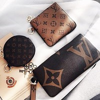 Louis Vuitton LV Stylish Retro Clutch Bag Wristlet Key Pouch Handbag Wallet Purse Three Piece Set