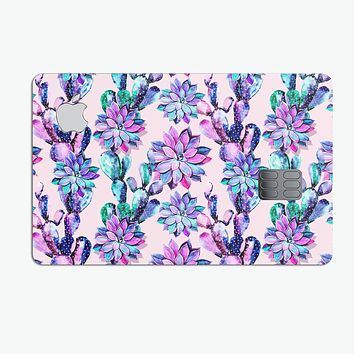 Watercolor Cactus Succulent Bloom V16 - Premium Protective Decal Skin-Kit for the Apple Credit Card