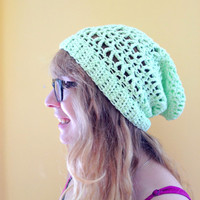 Slouch Hat, Women's Slouch Hat, Green Slouch Hat, 100% Cotton Summer Slouch Hat, Summer Hat, Women's Green Hat, Ready to Ship