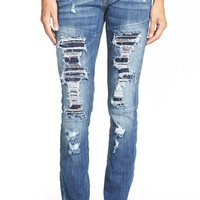 Junior Women's Dollhouse Destroyed Skinny Jeans ,