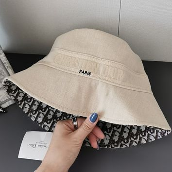 Dior classic old flower double sided fisherman hat