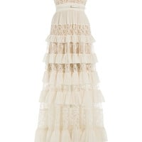 Elie Saab - Silk-Blend Tiered Lace Gown