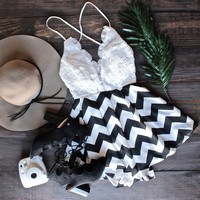 reverse x lovecat - crochet open back black and white chevron romper