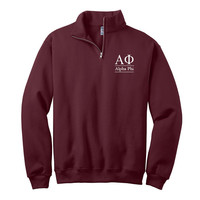 Alpha Phi Quarter Zip Pullover,  Alpha Phi cadet fleece pullover, Sorority Letters, Greek Letters, Greek Apparel, Sorority pullovers