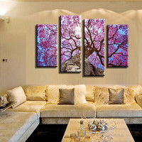 4 Panels Pink Trees Canvas Painting Artwork modern Wall Art the Picture Gift for Living Room Unframed