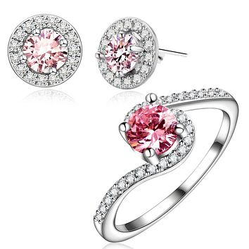 Pink Cubic Zirconia Jewelry Sets for Women Elegant Wedding Stud Earrings and Rings Sets Fashion Jewelry