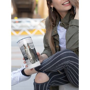 Great Horned Owl Tumbler With Stainless Steel Straw Skinny Tumbler Gorgeous Illustrated Owl Gift Idea Travel Mug Cold Hot Vacuum Lid