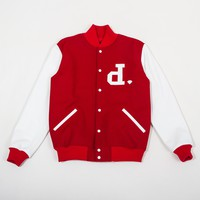 Un-Polo Wool/Leather Collegiate Varsity Jacket in Red/White