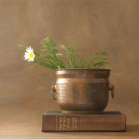 Vintage Copper Pot with Handles Made in India, Rustic