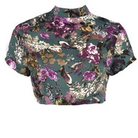 Noelle Bird Print Silky Crop Top