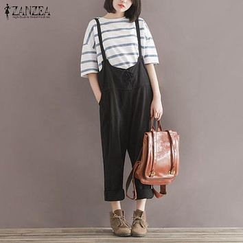 Oversized 2016 Autumn ZANZEA Rompers Women Jumpsuits Vintage Sleeveless Lace Up Casual Loose Solid Playsuits Plus Size Overalls