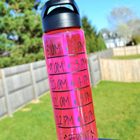 24oz Water Intake Tracker Sports Bottle // CUSTOM COLORS AVAILABLE