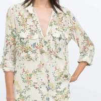 White Floral Print Long-Sleeve Button Collared Blouse With Pocket