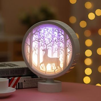 Creative Round 3D Light And Shadow Paper Carving Lamp Children Boy And Girl Friends Birthday Valentine's Day Classmate Gift Decoration Night Light