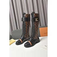 lv louis vuitton trending womens men leather side zip lace up ankle boots shoes high boots 24
