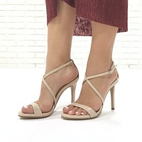 Polished Chic Open Toe Heels In Nude