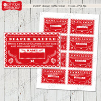 Mexican diaper raffle ticket, Printable diaper raffle, Red Papel picado baby shower diaper raffle insert card - Instant download