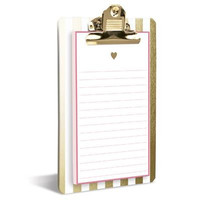 Gold Heart Clipboard & Notepad