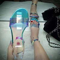 Women Transparent Flat Ankle Strap Sandals