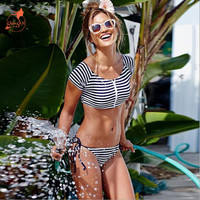 2017 Summer styles striped crop top Short sleeve shirt  thong bandage sexy bikinis set women swimwerar swimsuit bathing suit