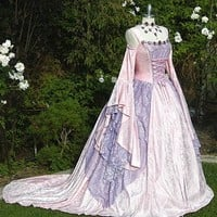 Gwendolyn Cinderella Medieval or Renaissance Wedding Gown  2 Tone your Color and size