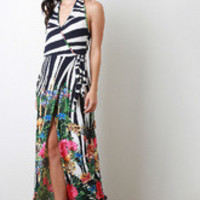 Women's Stripe Floral Maxi Wrap Dress