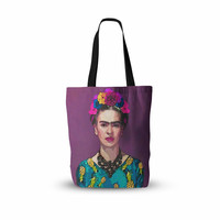 "Oriana Cordero  ""Trendy Frida Kahlo"" Purple Teal Everything Tote Bag"