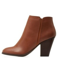 Tan Chunky Heel Ankle Booties by City Classified at Charlotte Russe