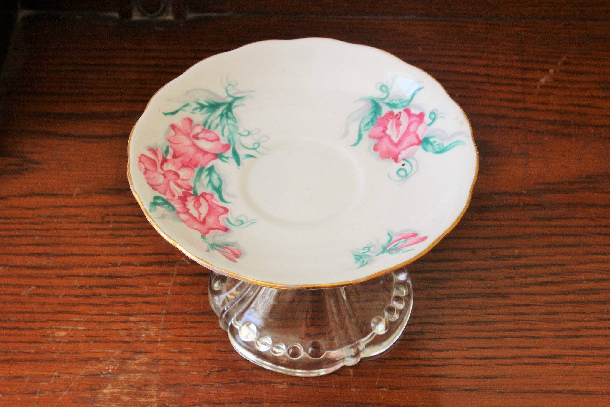 Image of Vintage Upcycled Cupcake Plate, Soap Dish, Etc.