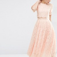 ASOS Lace Crop Top Midi Prom at asos.com