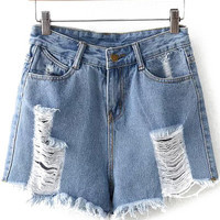 Ripped Fringe Denim Shorts