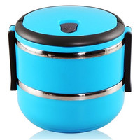 Katie 1400 ml Double Layer Stainless Steel Round Lunch Box with Handle (Blue)