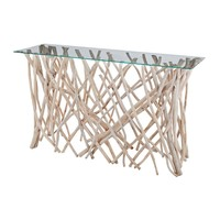 Glass Console Table Natural Driftwood