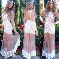 Long Sheer Lace Evening Party Ball Prom Gown Formal Bridesmaid Cocktail Dress