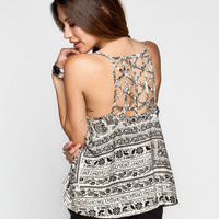 Patrons Of Peace Boho Print Womens Criss Cross Back Tank White/Grey  In Sizes