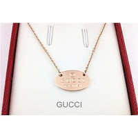 Gucci Fashion Necklace catenary  pendant double Gold