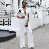 Hego 2016 New Solid White Deep V Sexy Women Jumpsuit Autumn Cape Sleeve Pantsuits Fashion