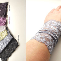 NEW SPRING COLORS Pick your color Stretchy Lace Wrist Cuff Fashion accessory Women Teens Tattoo Cover Up Cuff