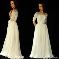 Sherry-City Country Beach Bride-Custom A-line off the shoulder Lace Chiffon Wedding Dress Gown