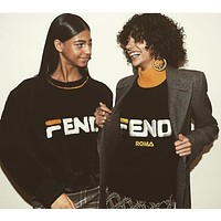 FENDI High Quality Autumn Winter Fashionable Casual Long Sleeve Half High Collar Embroidery Letter Knit Leisure Sweater Top Women
