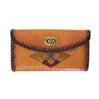 Vintage leather wallet. tooled leather Mexican wallet. floral. flower. BOHO ethnic tribal. Suede wallet.