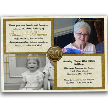 Elegant Golden Then and Now Adult Birthday Photo Invitations - Woman Birthday - Man Birthday - Photo Invites - 90th 80th 70th 60th 50th Gold