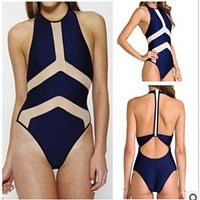 Women One Piece Swimsuit  lady Backless round collar  mesh bathing suit Black