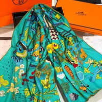 HERMES Fashion Men Women Letter Print Cashmere Scarf Scarves