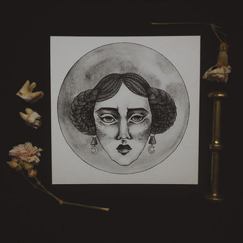 moon witch card • digital print moon art card - occult art - square blank card - witchcraft - moon goddess